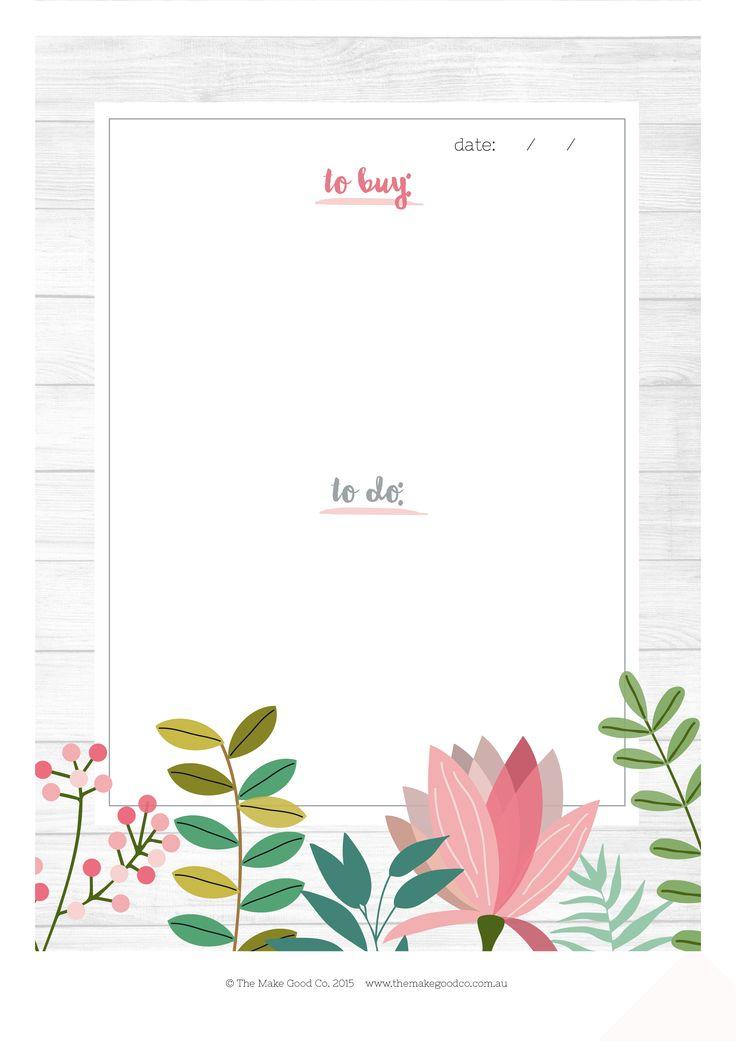 Free Floral Printable To Do and Shopping List | Printable