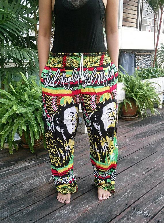 Unisex Reggae Rasta Clothing Rastafari Fashion Printed African Bob Marley Tank Pants Hippie Baggy Gypsy Hipster Rastafarian Harem Men