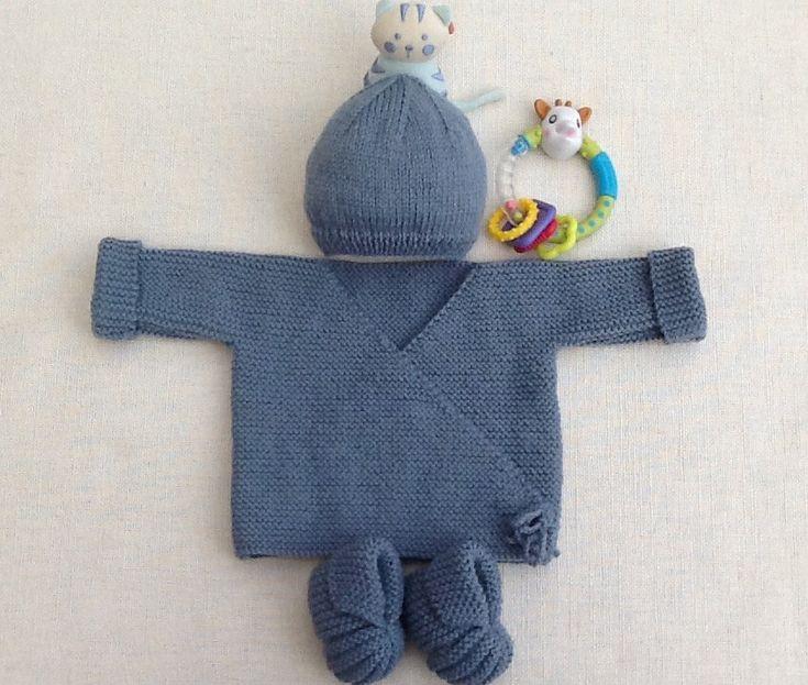 Baby beanie baby bootie, tricot, bébé, bleu bébé, denim, cadeau de naissance, ensemble de bébé, ensemble de bébé   – ***ARTISANAT FAIT MAIN**