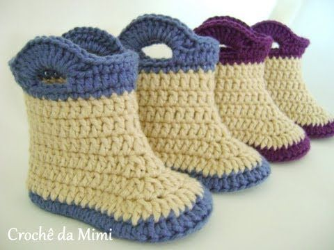 Passo a Passo Botinha crochê - Booties for baby made ​​in crochet,