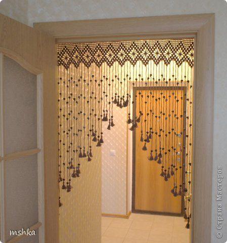 Интерьер Вязание крючком Вязаные шторы на дверь Пряжа фото 1