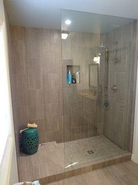 doorless showerLove the tile Looks like linen or