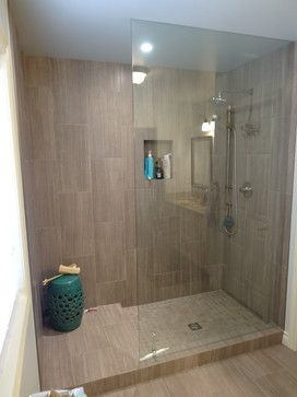 doorless shower.Love the tile. Looks like linen or ...