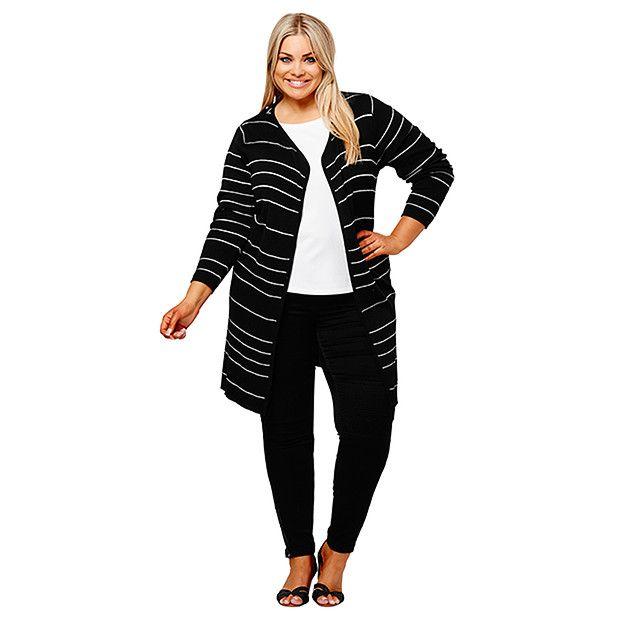 Belle Curve Maxi Cardigan - Black / Silver | Target Australia
