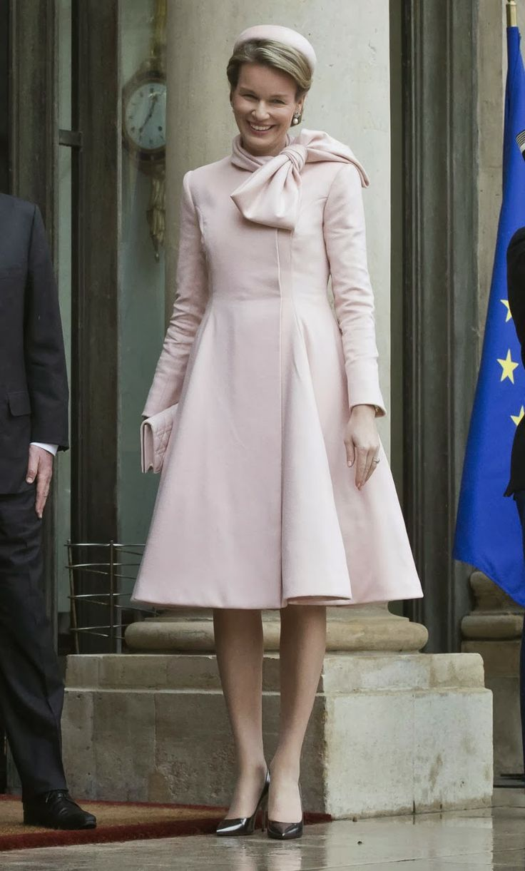 06 February 2014 King Philippe and Queen Mathilde visit President Fancois Hollande of France at the Elysee palace in Paris