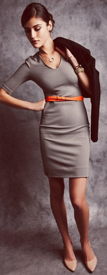 @Laura Gafken: Orange, Style, Outfit, Pump, Dvf, Beauty, Gray, Workwear, Grey Dresses