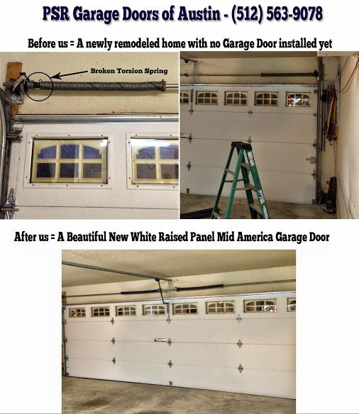 before and after pics of a broken garage door torsion spring replacement in austin texas