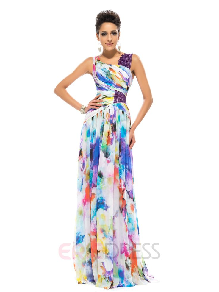 ericdress.com offers high quality  Timeless Straps A-Line Floor-length Printed Evening Dress  Designer Dresses unit price of $ 130.19.