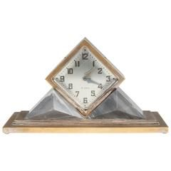 Omega Art Deco Mantel Clock with Grey Marble