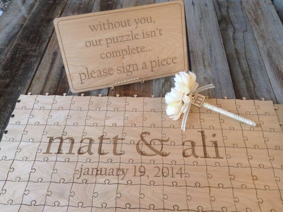 Wedding Package 100-200 pieces Custom Wedding Guest Book Puzzle with Sign and Pen