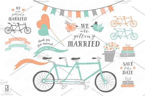 Tandem bicycle, wedding, mint coral by GrafikBoutique on @creativemarket