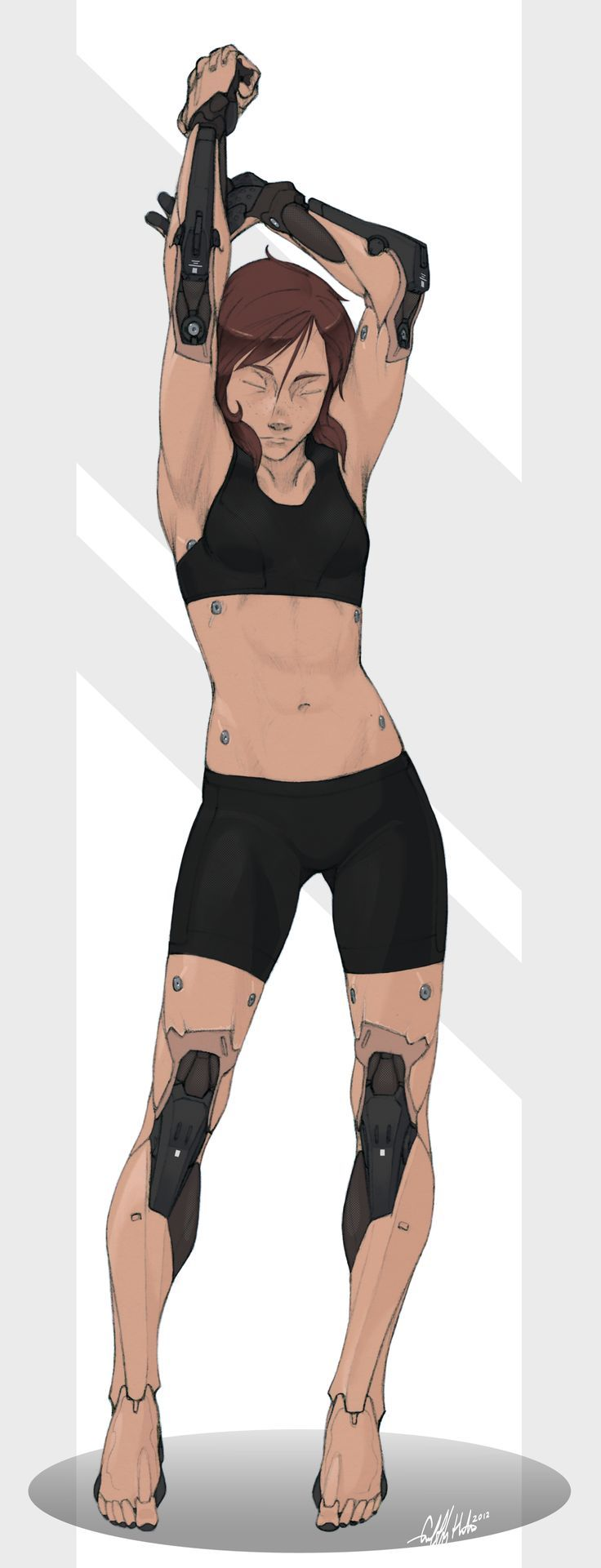 """""""Reina- Prosthetics Studies"""" by Tekka-Croe. Looks like this chick would fit right at home in a Deus Ex or Cyberpunk game. // DeviantART:"""