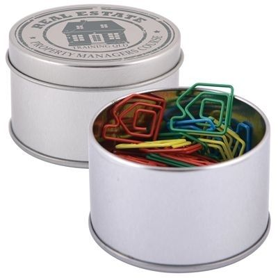 Silver tin with house shaped paper clips. Ideas for investor nights .. and as a direct mail or thank you to partners.  Available from Thrive Promotional.
