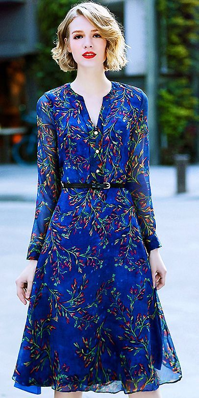 e26a7bf12b Elegant Floral Belted V-Neck Long Sleeve Print Skater Dress