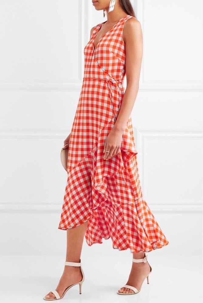 465b8545d007f7 Diane Von Furstenberg DVF Asymmetrical Ruffle Hem Midi Dress Orange  Gingham, 12   eBay