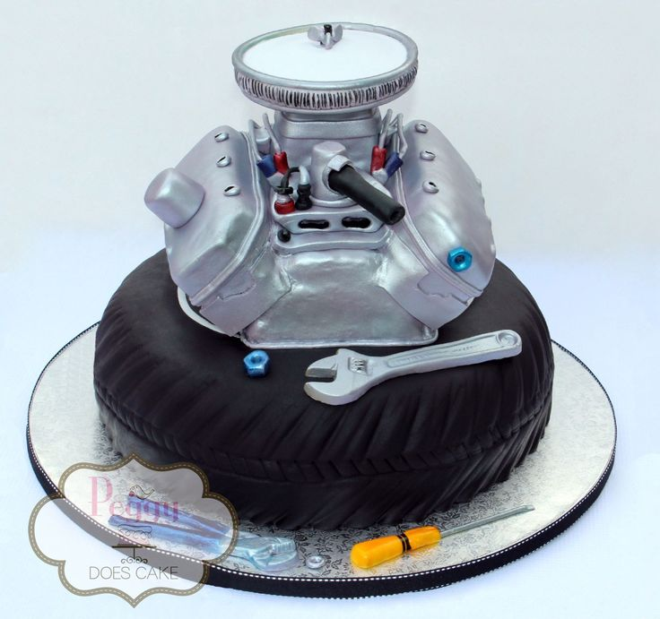 engine cake, motor cake, tire cake, mechanic cake, groom's cake,