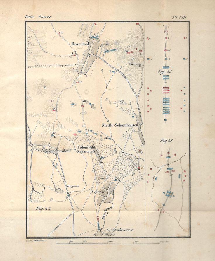 """Source : Decker, """"De la petite guerre"""" (1845), Planche VIII, citée par ex. p. 220, pour la fig. 28. Se rapporte au livre second, chap. IV, 3. Protection d'un convoi par terre."""
