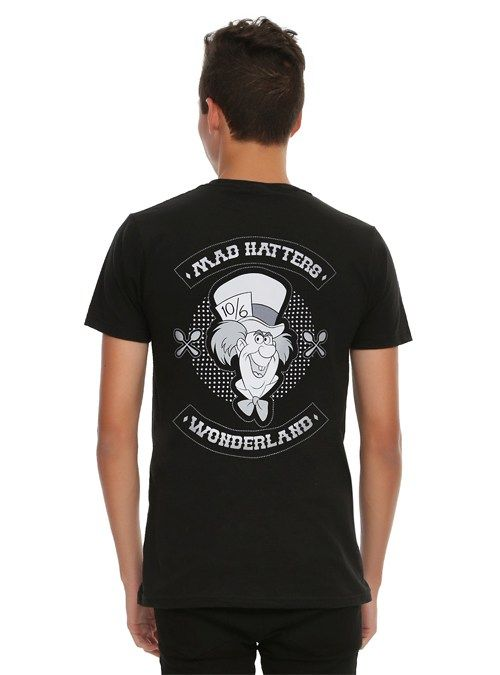 Male Model Wearing a Black Alice in Wonderland Mad Hatter T-Shirt