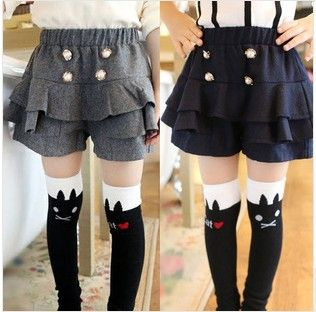 Купить товарОсень дети в одежда девочки дикий жемчуг двубортный шерстяная ткань брюки шорты корейский модный в категории Шортына AliExpress.