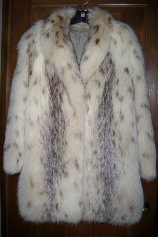 Редкий красивый винтажный рысь пятнистый платиновый лисий мех коляска куртка xl 14 16