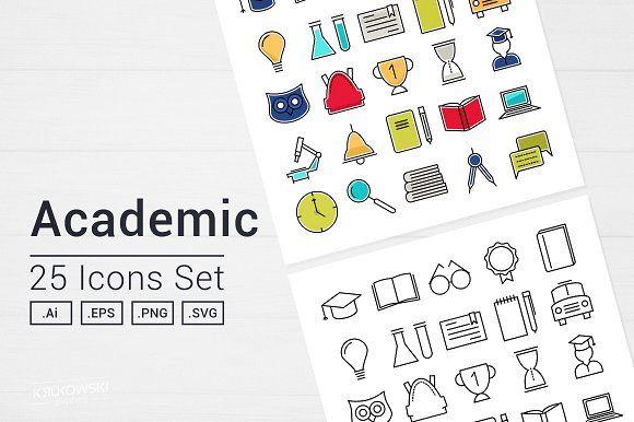 Academic School Icons Set by Krukowski Graphics on @creativemarket