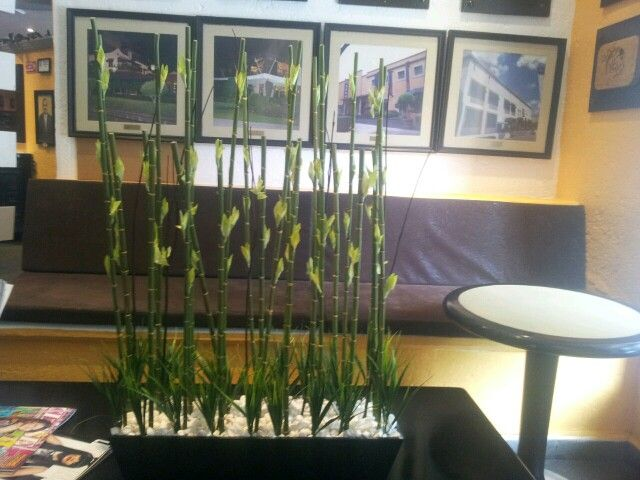 Elegante jardinera de bamb artificial dale vida a tus - Jardineras con bambu ...