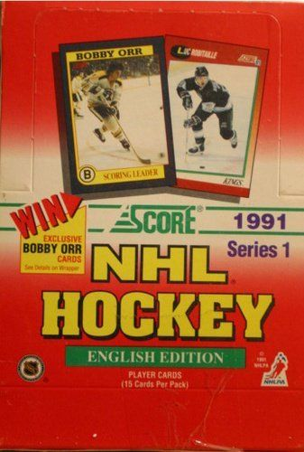 1 (One) Box - 1991 Score NHL Hockey Series 1 - English Edition - (36 packs per Box) by SCORE. 1 (One) Box - 1991 Score NHL Hockey Series 1 - English Edition. 36 Packs per Box - 15 Cards per Pack. Win - Exclusive Bobby Orr Card - (See Details on Wrapper). English Edition. Singles Sold Separately!.