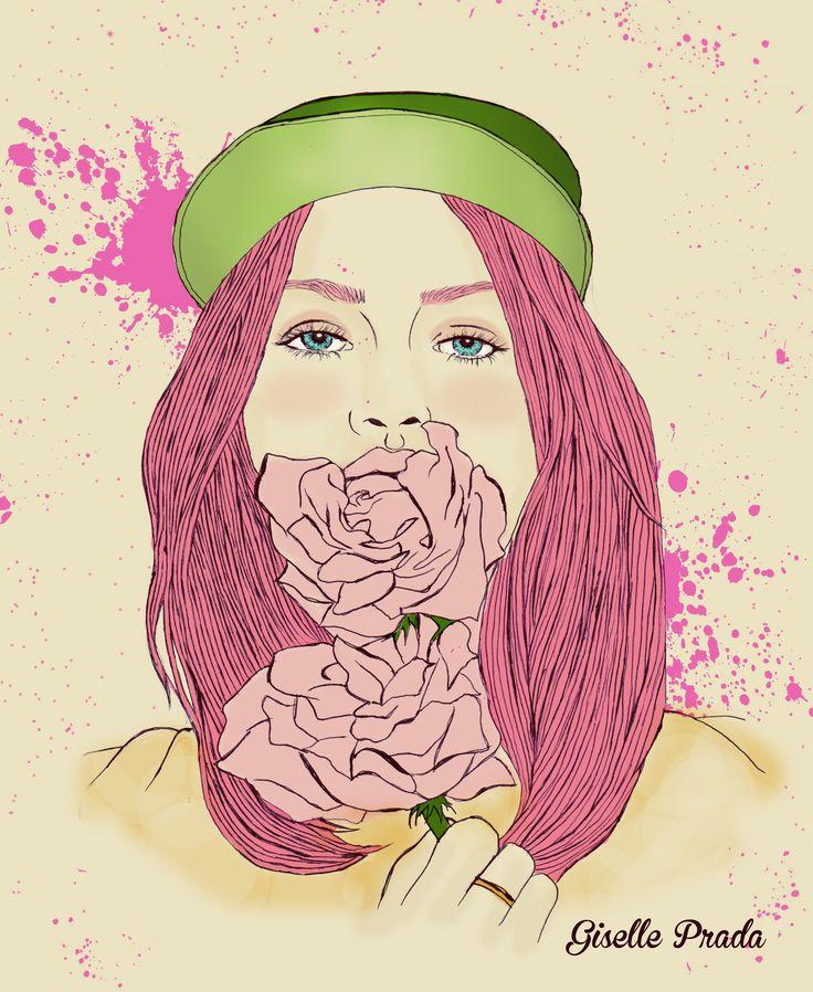 eating roses girl  illustration hand drawing