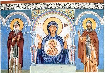 Virgin, Sergio e Herman di Valaam.  Pittura refettorio Monastero di New Valaam.  Finlandia.  1992