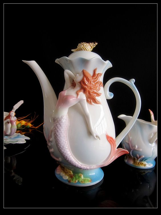 mermaid tea cups | Details about Denmark Mermaid Coffee Tea Set Cup/Saucer/Cre amer/Sugar ...
