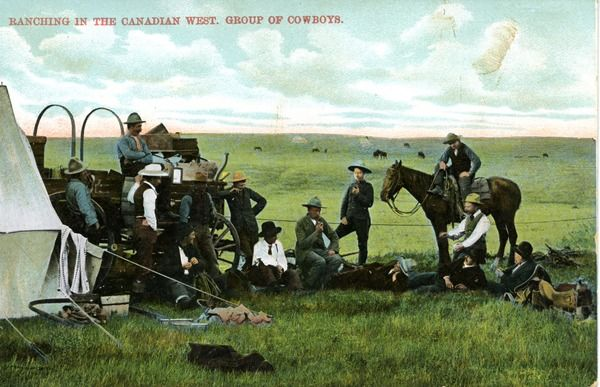 Ranching in the Canadian West. Group of Cowboys. | saskhistoryonline.ca