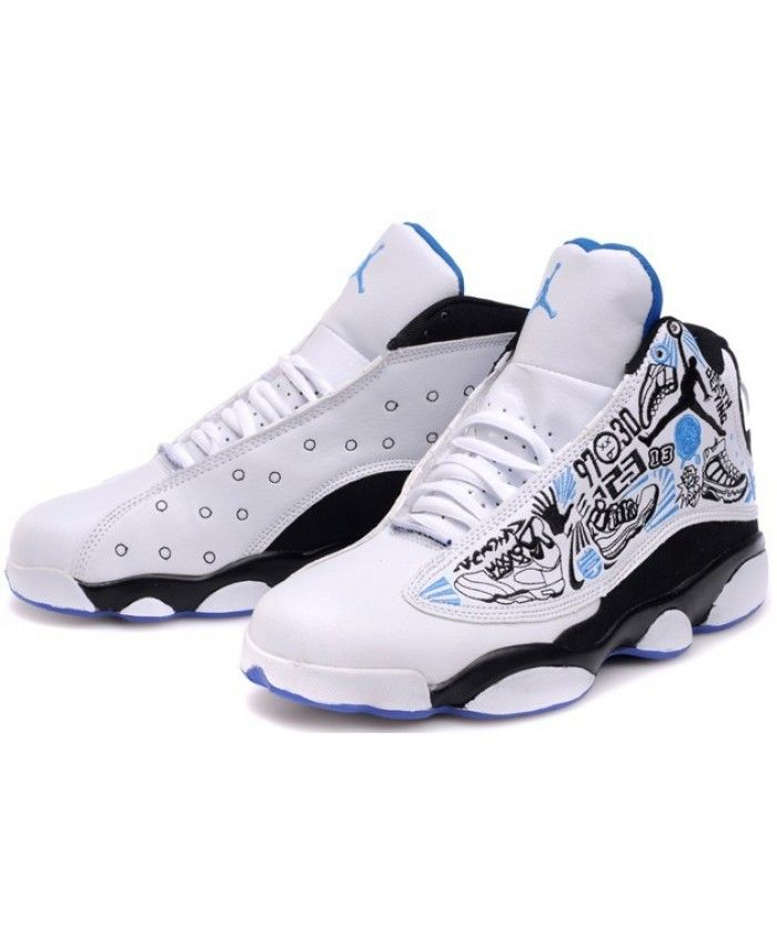 06bd43d2bf1e Nike Air Jordan 13 Custom White Black Blue Trainer UK