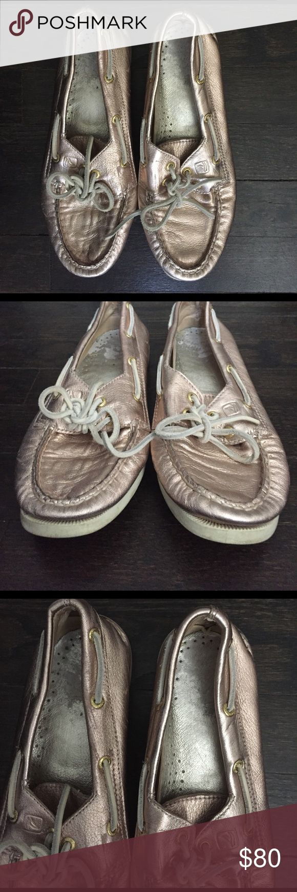 Rose Gold Sperry Top-Sider shoes Great condition rose gold sperry top-sider shoes! Size 7, fits true to size Sperry Top-Sider Shoes Flats & Loafers