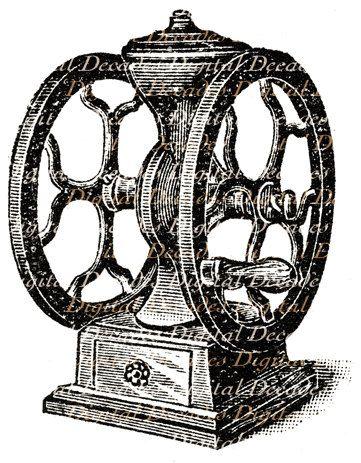 Vintage Antique Victorian Coffee Grinder Art by DigitaIDecades, $3.00