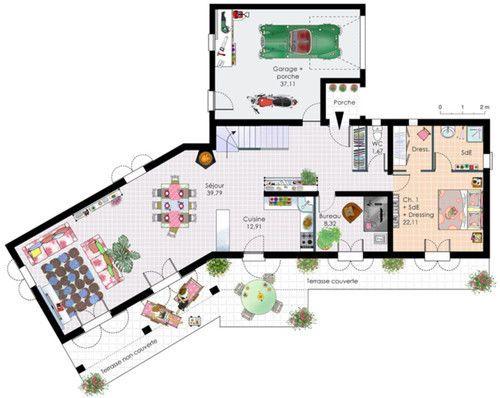 Plan habillé Rez-de-chaussée - maison - Bastide