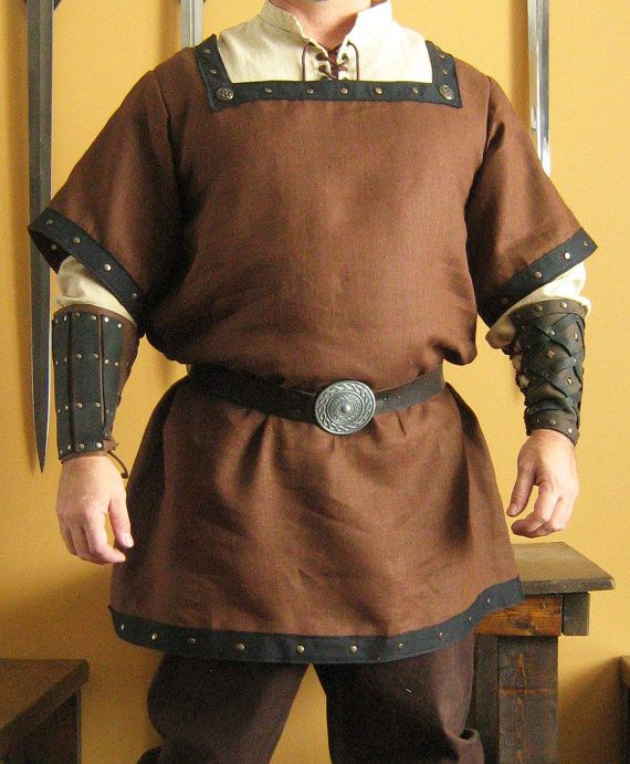 Medieval Celtic Viking Norman Shirt Mid-Arms Sleeves with Square Collar Deluxe