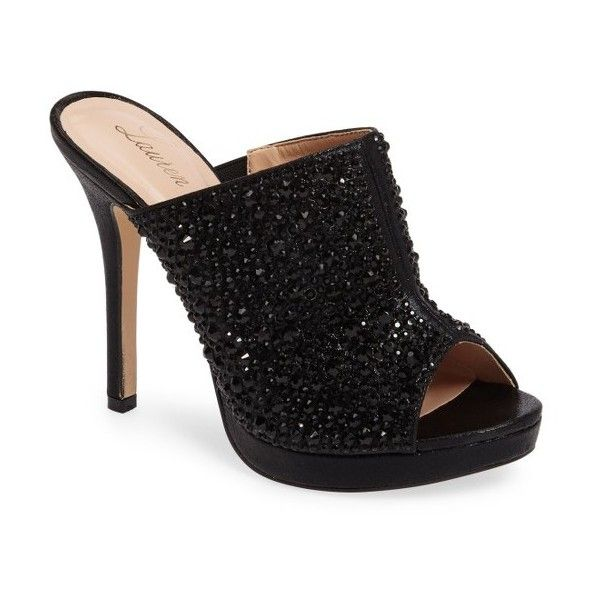 Women's Lauren Lorraine Mimi Embellished Slide Sandal ($60) ❤ liked on Polyvore featuring shoes, sandals, black, lauren lorraine, embellished sandals, embellished shoes, black embellished shoes and black slide sandals
