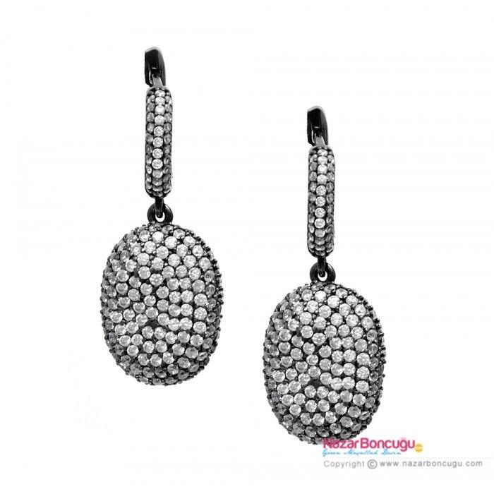 Taşlı Gümüş Küpe - NazarBoncugu.com