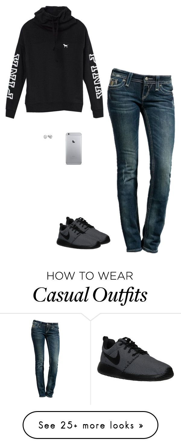"""The Casual Teen Look 2016"" by princessteauna on Polyvore featuring Rock Revival, Victoria's Secret and NIKE"