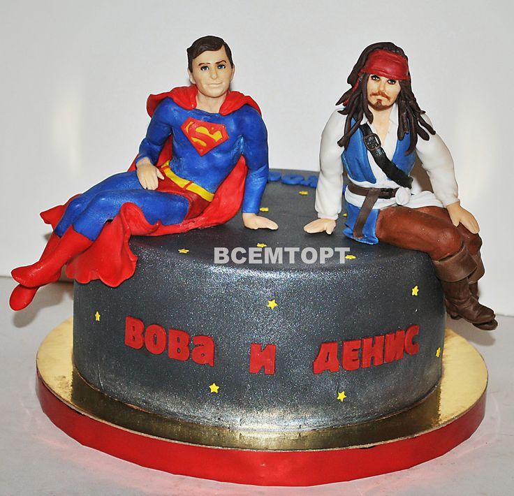 Торт Супермен и Джек Воробей. Заказ торта в Москве на день рождения для детей