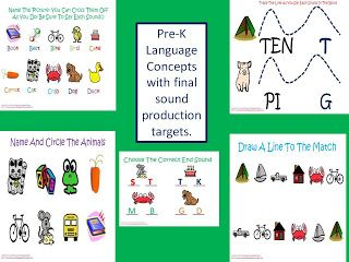 Twin Sisters Speech & Language Therapy: *updated Post 4/10/2013: Pre-K Concepts with Targeted Productions of Final Consonants