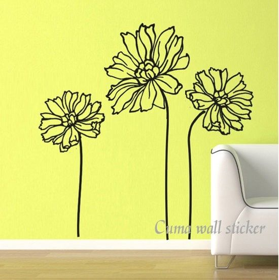 Best Wall Decals Images On Pinterest Wall Decals Floral Wall - Yellow flower wall decals