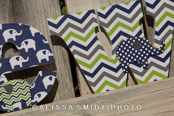 Love the pop of green with navy white and grey! Custom Nursery Wooden Letters Baby Boy by WanderlustbyAlissa, $16.00