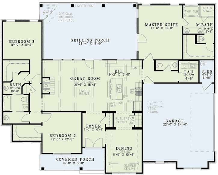 Country style house plans 1960 square foot home 1 for Monster house floor plans
