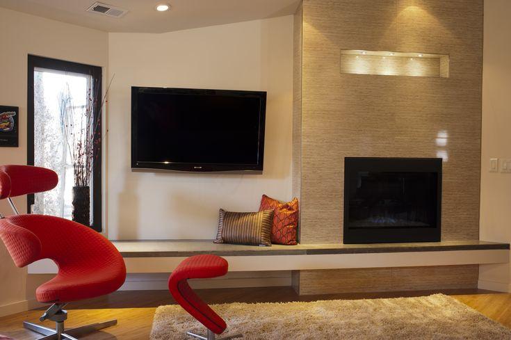 mid-century moidern fireplace3s | Mid Century Modern remodel / Repurposed Design, reusing concrete ...