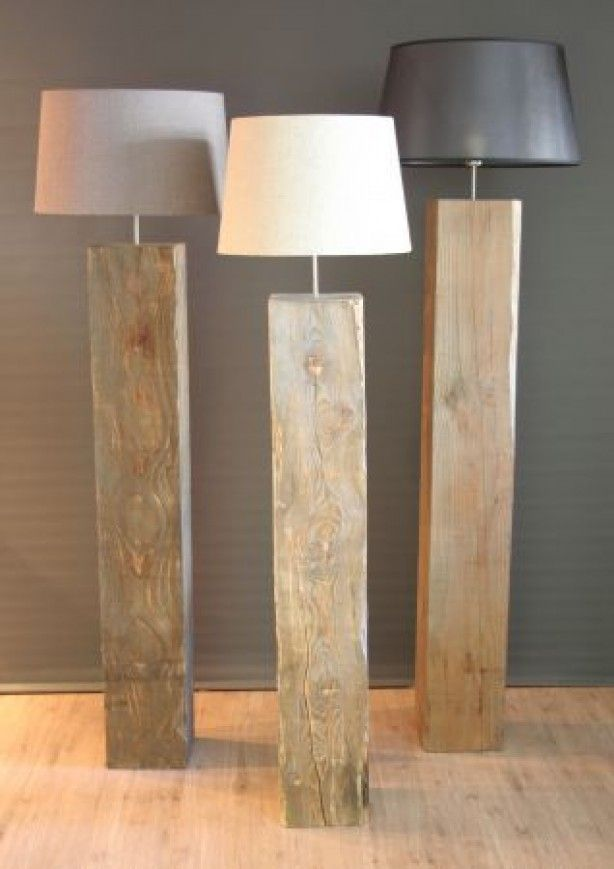 Floor lamps from wood posts