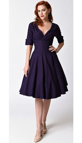 Unique Vintage 1950s Style Dark Purple Half Sleeve Delores Swing Dress