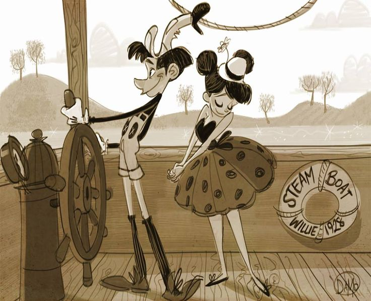 """""""Happy Birthday Mickey and Minnie Mouse!!! On this day 85 years ago, Steamboat Willie debuted on the big screen! Boasting the first synchron..."""