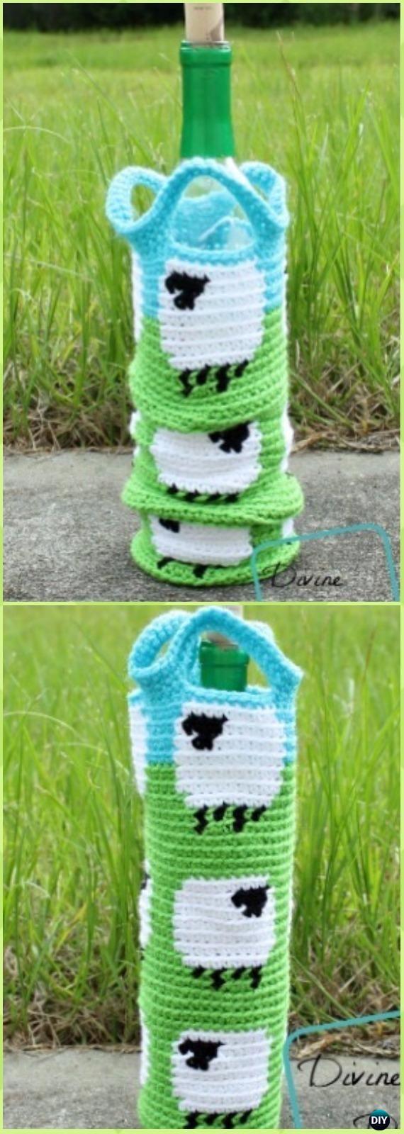 Crochet Shelia Sheep Bottle Cozy Free Pattern - Crochet Wine Bottle Cozy Bag & Sack Free Patterns