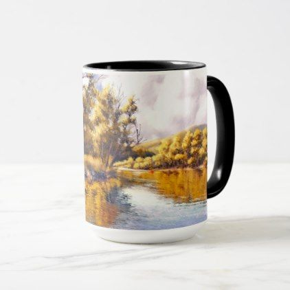 Autumn River Scenery Painting Gift Mugs - diy cyo personalize design idea new special custom